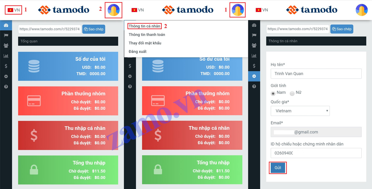cập nhật thông tin tài khoản tamodo