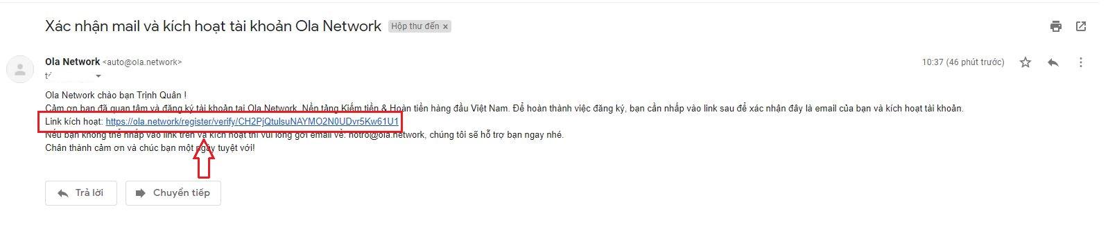 xác minh email olacity